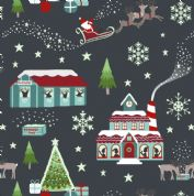 Lewis & Irene - Christmas Glow - 6702 -  North Pole Scene on Black - C47.3 - Cotton Fabric